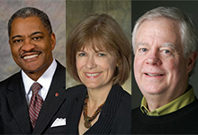 The speakers for our 2015 breakfast. From left: Washington State University President Elson Floyd, Seattle Colleges Chancellor Jill Wakefield, and The Seattle Times Publisher Frank Blethen (moderating).
