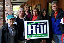 Doorbelling for Senator Hill. From left: Beth Sigall, Dawn McCravey, Betsy Cohen, Janet Suppes, (unknown canvasser), and Sen. Steve Litzow.