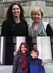Above: Jennifer Karls (left) and Sarah Butcher; Below: Beth Sigall with her son in Olympia