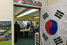 Students enter their classroom at Spokane International Academy.