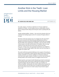 Another Kick in the Teeth: Loan Limits and the Housing Market