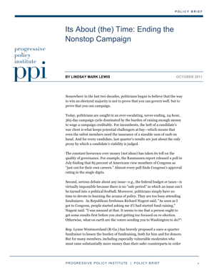 It's About (the) Time: Ending the Nonstop Campaign