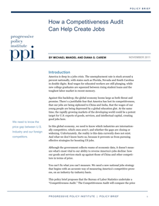 How a Competitiveness Audit Can Help Create Jobs