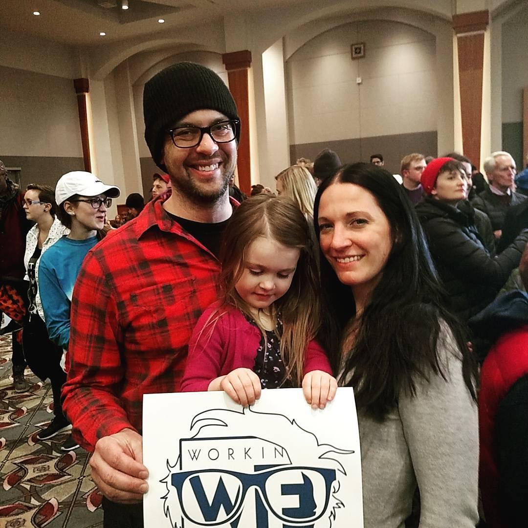 Wisconsin Working Families Party members getting the vote out for Bernie.
