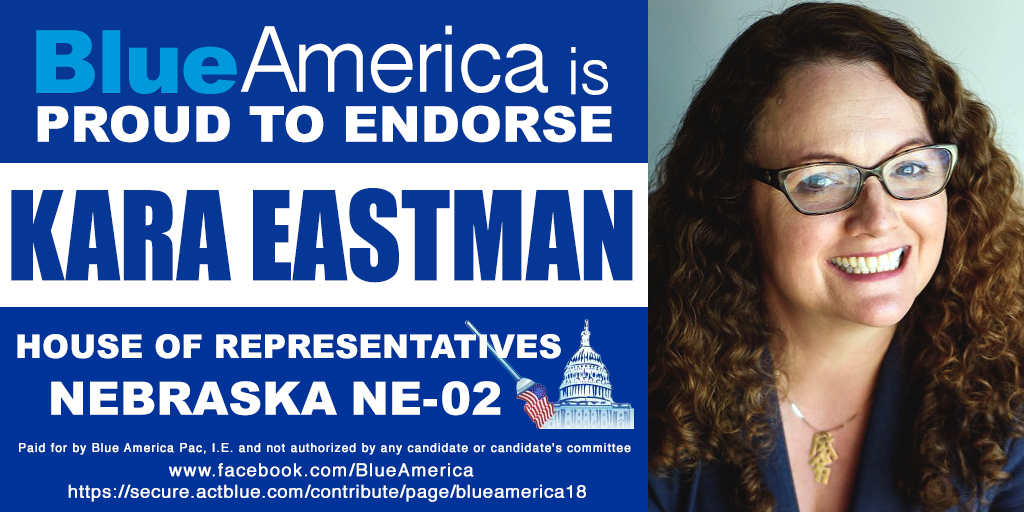 It's strong, idealistic women with real life experience like @karaforcongress who are going to change America, not decrepit, recycled, reactionary Blue Dogs pushed by a corrupt establishment. Blue America proudly endorses Kara Eastman for #NE02!