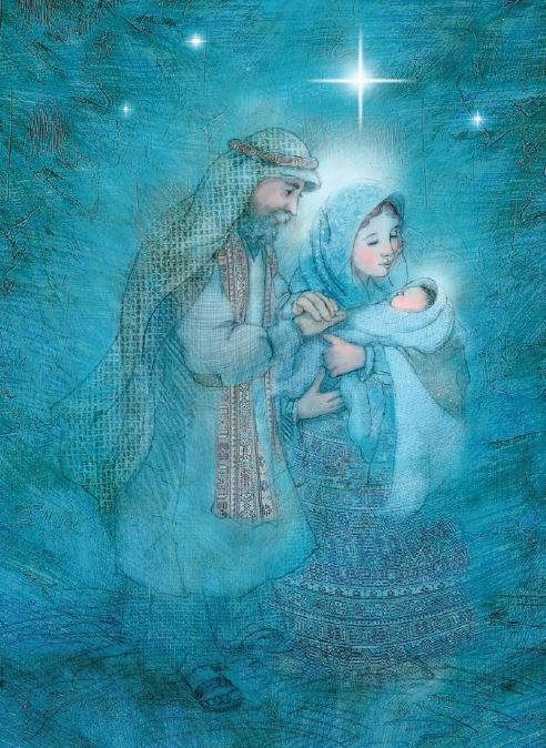 Card 1 - Holy Family in blue