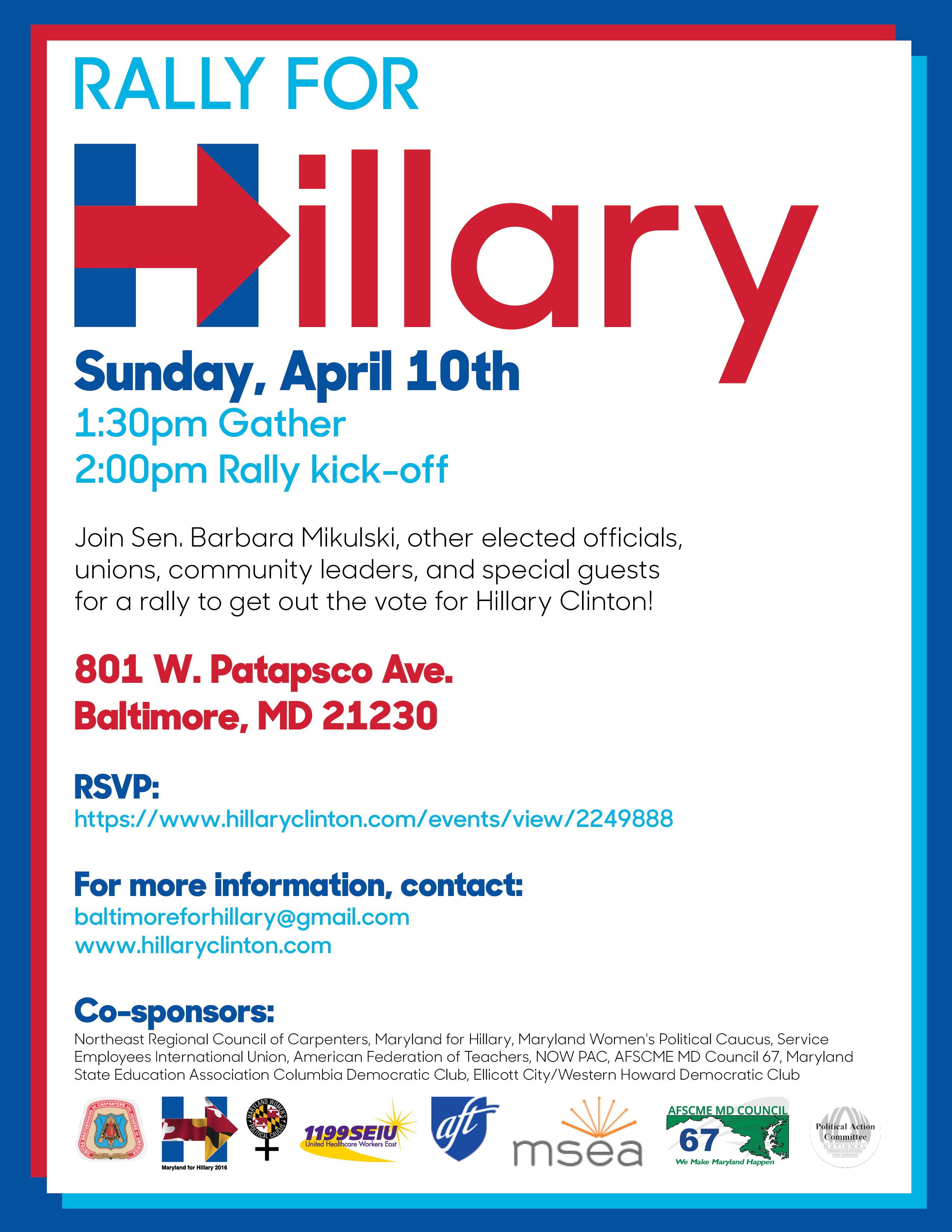 Rally for HIllary, Sunday, April 10th