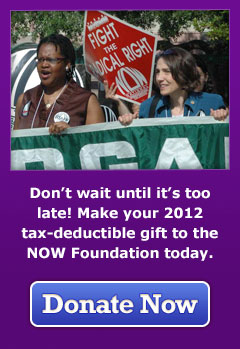 Don't wait until it's too late! Make your 2012 tax-deductible gift to the NOW Foundation today. Donate Now.